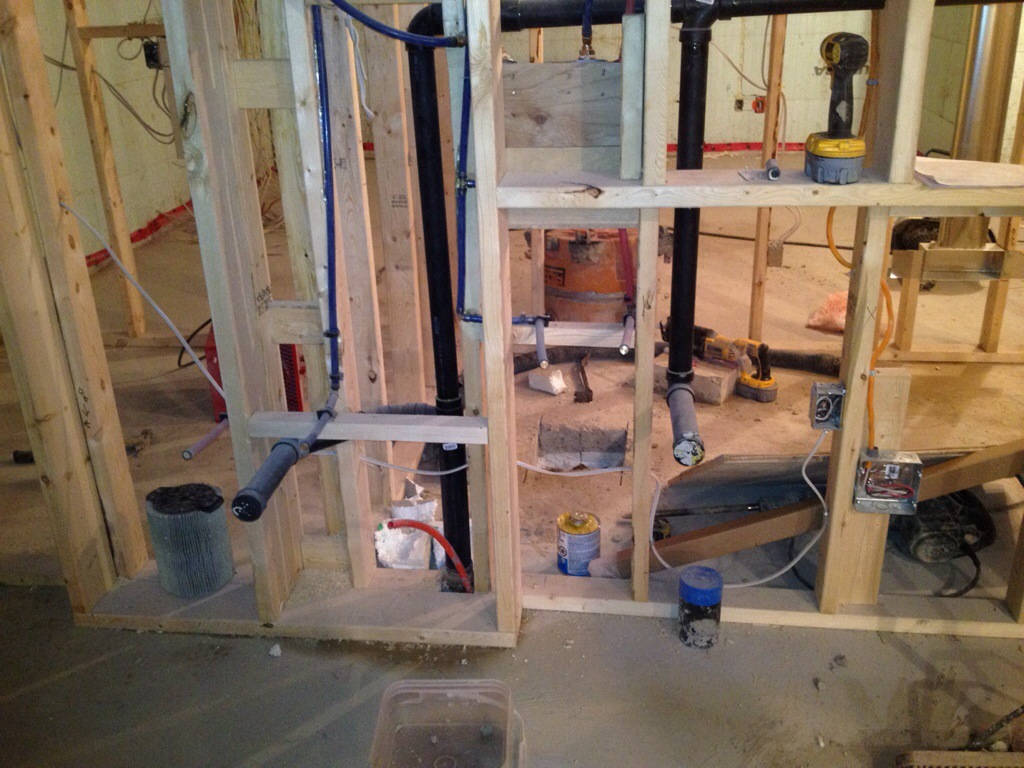 April 2014 Building Our Dream Home Page 2 Pre Wiring Basement Rough Ins In Laundry Room The Dryer And Washer Are Boxed To Hide